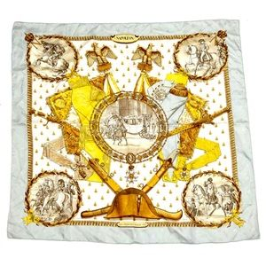 Authentic Vintage Hermes Silk Twill Scarf Napoleon